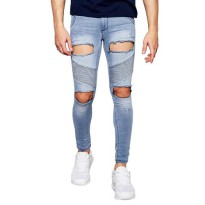 [globalbuy] 2017 New Men Jeans Extreme Rips Hole Hip Hop Fashion Designer Brand Slim Skinn/4137078