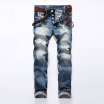 [globalbuy] Straight Printed Jeans For Men Ripped Jeans Brand Design Long Jeans Men Clothi/4136940