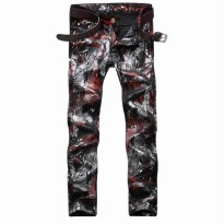 [globalbuy] Fashion Mens Printed Denim Joggers Slim Fit Painted Jeans Pants For Male Brand/4137076