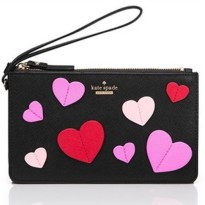 Kate Spade New York Admirer Applique Heart Slim Bee Wristlet - Black