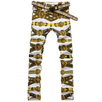 [globalbuy] Mens slim colored drawing flower print jeans Male gold lion painted denim pant/4136924