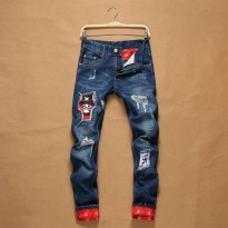 [globalbuy] New fashion male hole cuffs patchwork distressed jeans brand Cotton Straight S/4136820