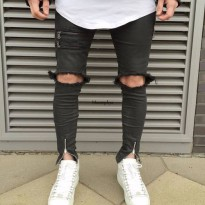 [globalbuy] Moomphya Fashion streetwear High street stripped broken holes men jeans pants /4136791