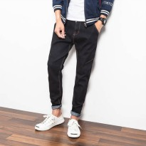 [globalbuy] New Mens Black Denim Casual Pants Japan Style Dark Jeans Men Fashion Slim Fit /4136790