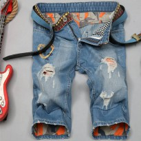 [globalbuy] Summer Fashion Jeans Shorts Ripped jeans Men short jean pants knee length jean/4136662