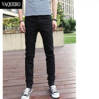 [globalbuy] Basic Styles Mens Jeans Stretch Classic Black Denim Mens Pants Casual Fashion /4136657