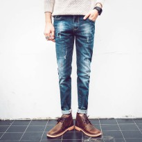 [globalbuy] 2016 New Mens Blue Skinny Jeans Fashion Slim Fit Cowboy Feet Pants Mens Pencil/4136465