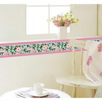 wall sticker motif list border bunga pink
