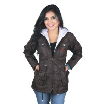 Catenzo Jacket Parka Wanita NUx072 Brown