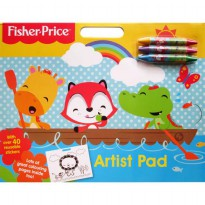 [Hellopandabooks] Fisher Price Artist Pad with over 40 reusable stickers, 3 double-colour crayons an