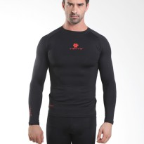 Tiento Baselayer Manset Compression Baju Olahraga Long Sleeve Black Red Original