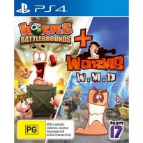 Worms Battlegrounds plus Worms WMD Double Pack Game PS4 (R2)