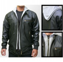 Jaket Pria - Mens Jacket Hoodie Zipper Black