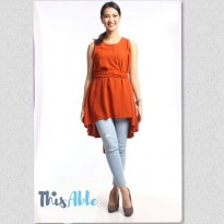 Dress Sofhie Orange Bata l Bahan: Katun Rayon