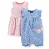 JUCA60 - 2in1 Stripe Pink Orange Skirt Romper + Blue Butterlfy Romper