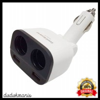 Dual USB Car Charger 2 Port with 2 Cigarette Plug HAN-128