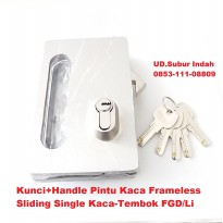 Kunci+Handle Pintu Kaca Frameless Sliding Single Kaca-Tembok FGD/Li