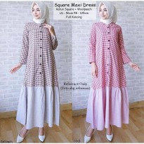 Square Maxi Dress Brown - Red