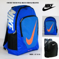 Tas ransel nike court tech full blue check oranye free rain cover