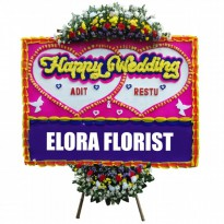 Elora Florist: AMF - 002 - Papan Bunga Happy Wedding