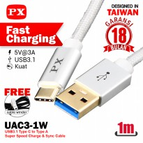 Fast Charging Type A-C 3.1 3A Kabel USB&Charger 1m PX UAC3-1W Putih