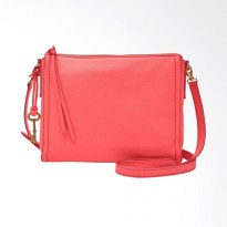 Fossil Emma Leather Crossbody Ladies Sling Bag - Neon Coral