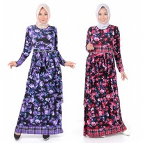 Jfashion Long Dress Gamis Maxi tangan panjang Corak bunga - Aqilla