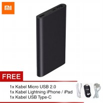Xiaomi powerbank 10000 mAh Asli Fast Charging - Mi Power 2nd Gen - Full Black