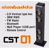 Termurah Simbadda Speaker CST 01 Tower Blutooth USB SD Card and Radio TERBAIK Zn4376