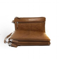 ILI Dompet Multi Fungsi Kulit Asli Double Zip Compartment - Antique Saddle