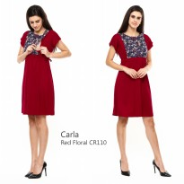 Just Mom Dress menyusui Carla Red Floral CR110
