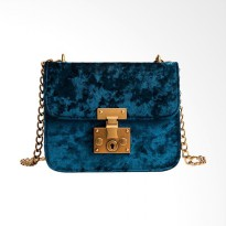 Lansdeal Retro Gold Velvet Sling Bag Wanita - Blue