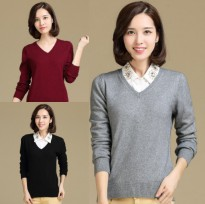 Sweater Murah Fit to M-L / Sweater Rajut Good Quality / Sweater Wanita Vleur Vanessa Leher V