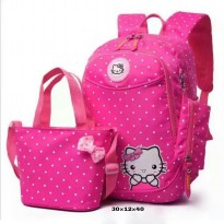 Tas Back Pack Anak Perempuan 3in1 Hello Kitty BR 318