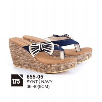 Wedges/sandal casual wanita/sandal formal wanitaAzzura 655-05 NAVY