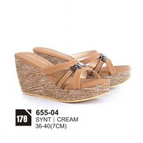Wedges/sandal casual wanita/sandal formal wanitaAzzura 655-04 CREAM