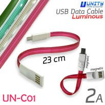 Kabel Data Magnetic UN-C01 USB Data Cable Luminous 23 cm - 2 Ampere