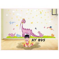 Wall Stiker Uk.60x90 Wall Sticker Dinding Purple Dino Hiasan Dinding