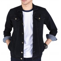 AN Jaket Jeans Pria Hight Quality [Black]
