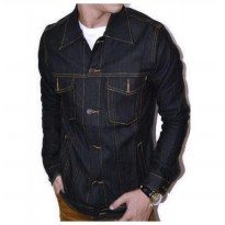 Jaket Jeans Pria Hight Quality [Blue Black/Garment]