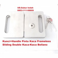 Kunci+Handle Pintu Kaca Frameless Sliding Double Kaca-Kaca Bellano