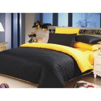 Jaxine Bed cover Set Katun Prada Ukuran 160 x 200 Queen Warna Hitam