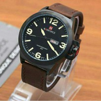 Jam Tangan Pria Naviforce Day Date Leather Dark Brown OriginaL