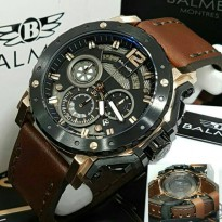 Jam Tangan Balmer B-7935 Pria Black Rosegold Leather Brown Original