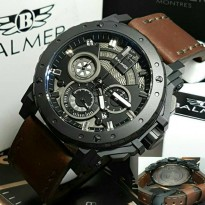 Jam Tangan Balmer B-7935 Pria Black Leather Brown Original