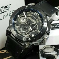 Jam Tangan Balmer B-7935 Pria Silver Black Leather Black Original