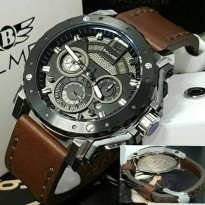 Jam Tangan Balmer B-7935 Pria Silver Black Leather Brown Original