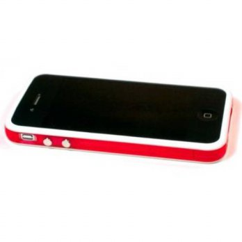 [holiczone] Buy Here Click Here Red and White Premium Bumper Case for Apple iPhone 4 - AT&/301306