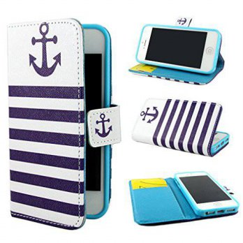 [holiczone] Ivencase ivencase Anchor Design Wallet PU Leather Stand Flip Case Cover For Ap/311834