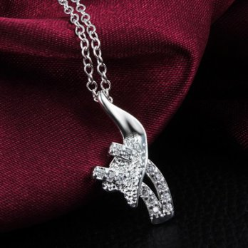 Diamond pendant necklace 925 sterling silver droplets female personality accessories boutique 73ax36
